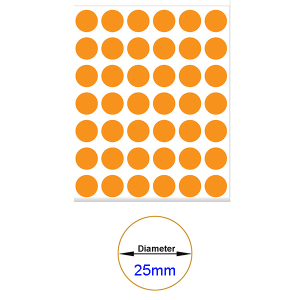Orange Self-Adhesive Sticker Label Diameter 25mm