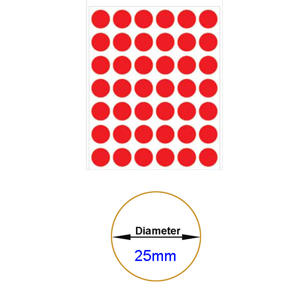 Red Self-Adhesive Sticker Label Diameter 25mm