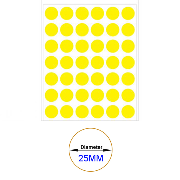 Yellow Self-Adhesive Sticker Label Diameter 25mm