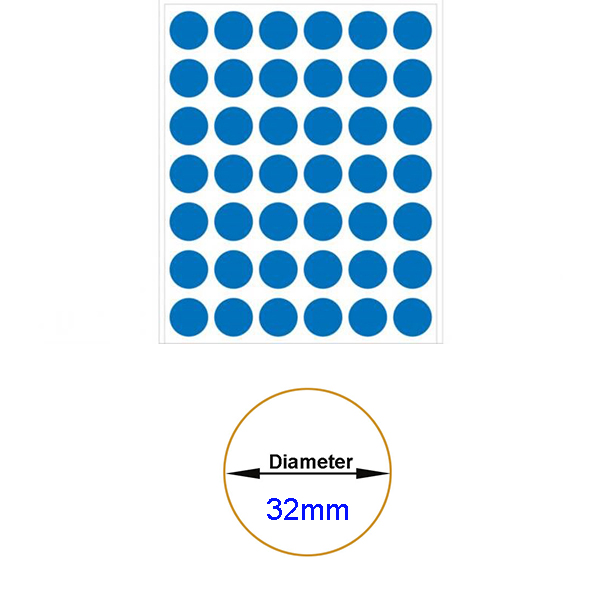 Blue Self-Adhesive Sticker Label Diameter 32mm