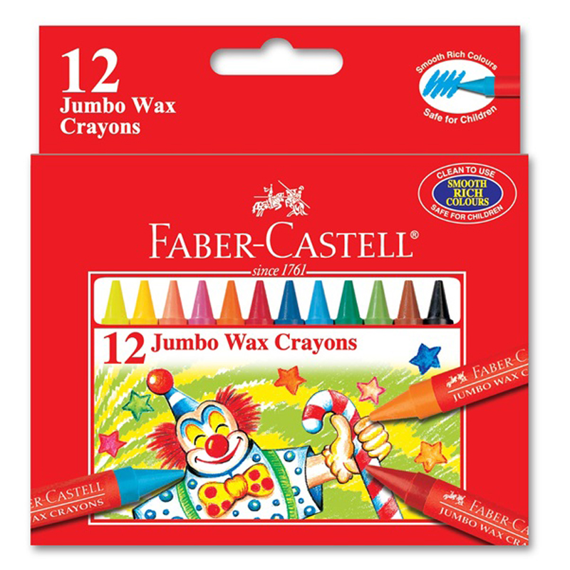 Faber Castell 1225 12 Colour Jumbo Wax Crayon