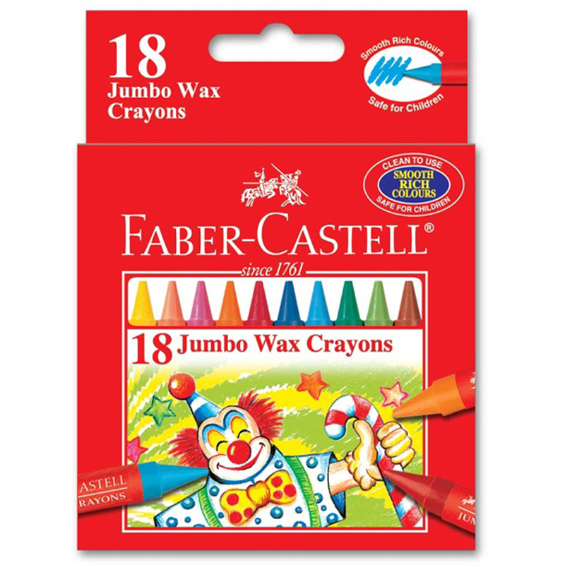 Faber Castell 1225 18 Colour Jumbo Wax Crayon