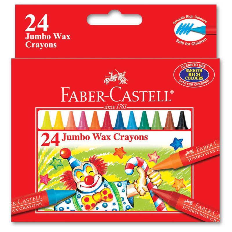 Faber Castell 1225 24 Colour Jumbo Wax Crayon