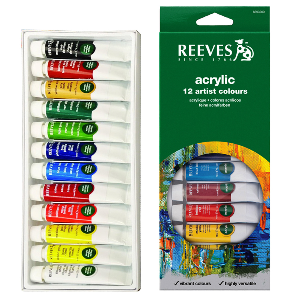 Reeves Acrylic Colour Artist Tube Set 12's x 10ml