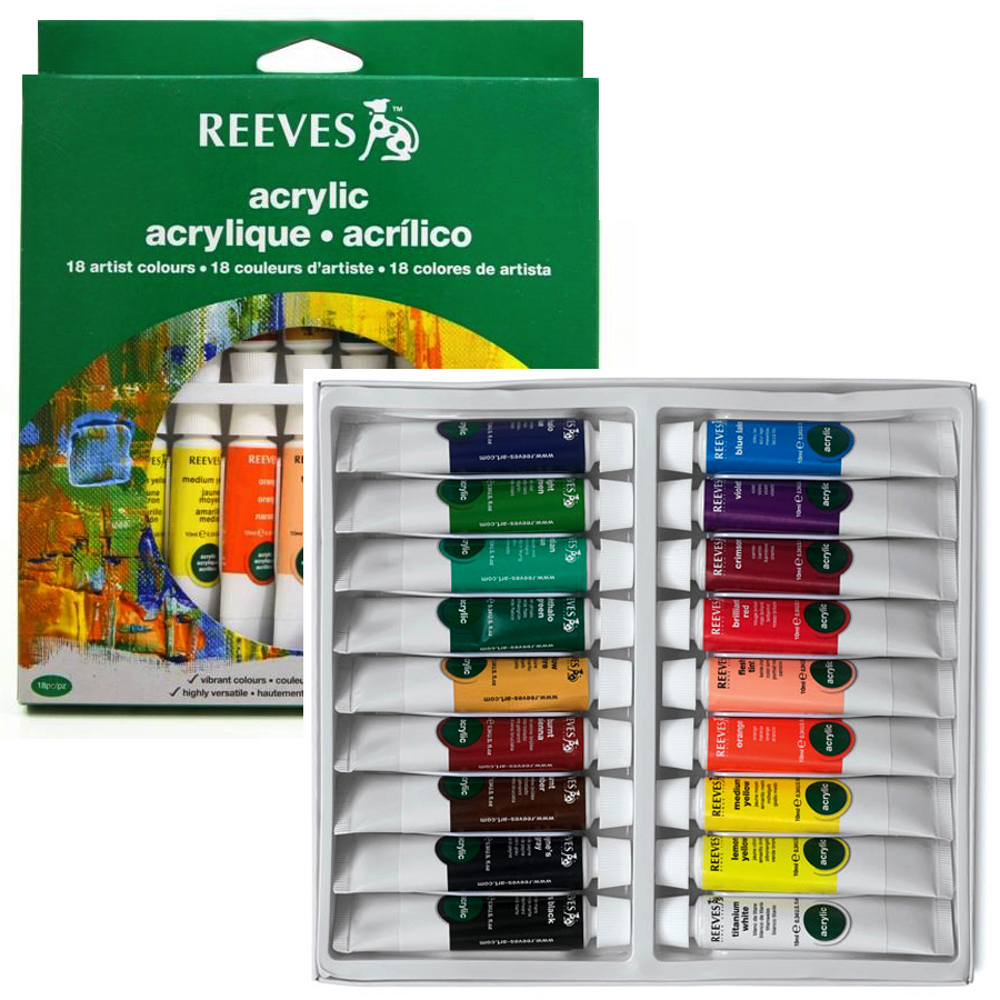 Reeves Acrylic Colour Artist Tube Set 18's x 10ml