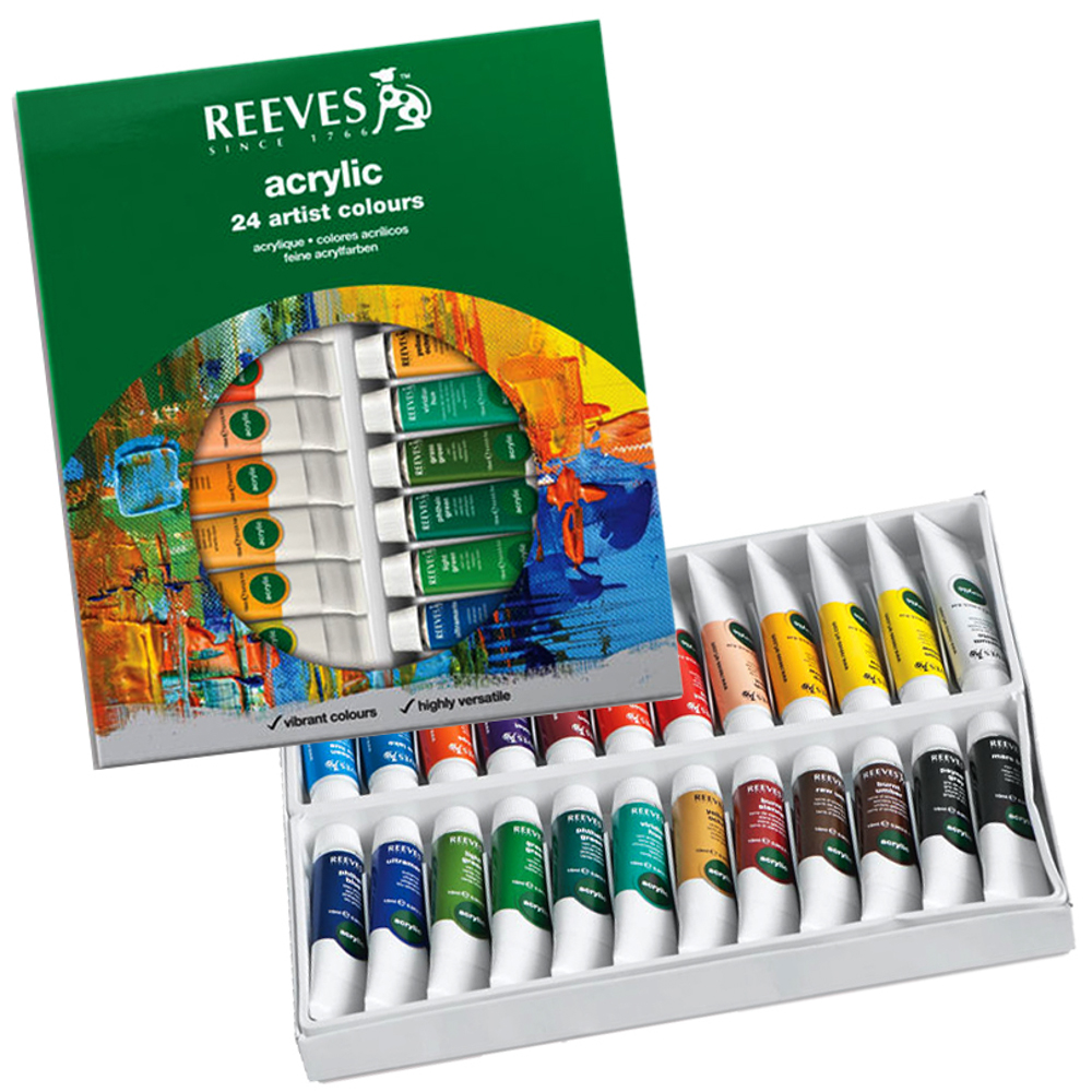 Reeves Acrylic Colour Artist Tube Set 24's x 10ml