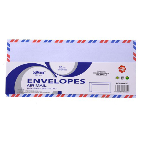 "Dolphin AW6344 Airmail Envelope 6.38""x4.5"" 20pcs"