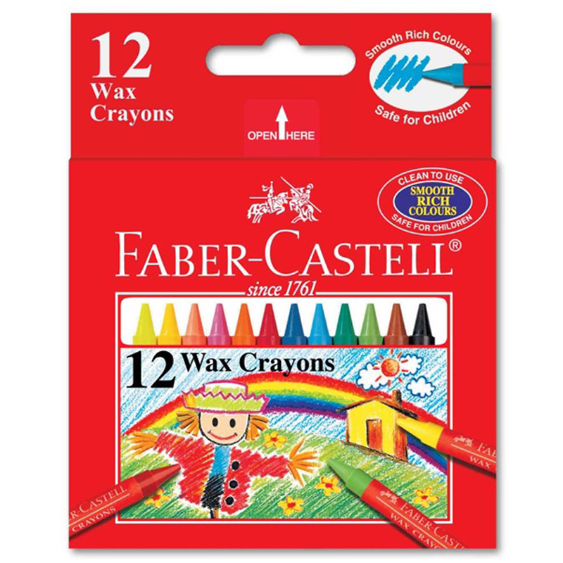 Faber Castell 1224 12 Colour Wax Crayon