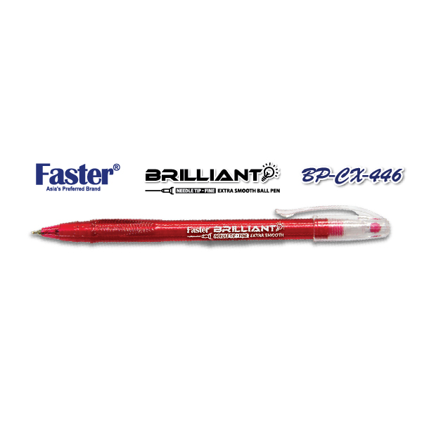 Faster CX-446 Brilliant Fine Ball Pen - Red
