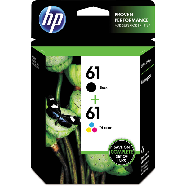 HP 61 Combo Pack Black/Tri-Color Ink Cartridge