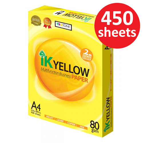 IK Yellow 80gsm A4 Paper 450's