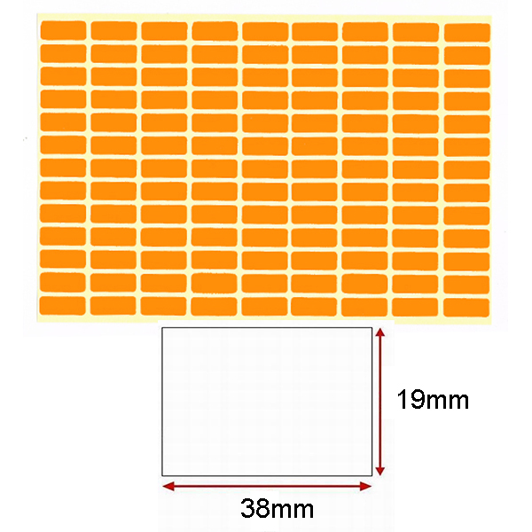 Orange Self-Adhesive Sticker Label (19mmx38mm)