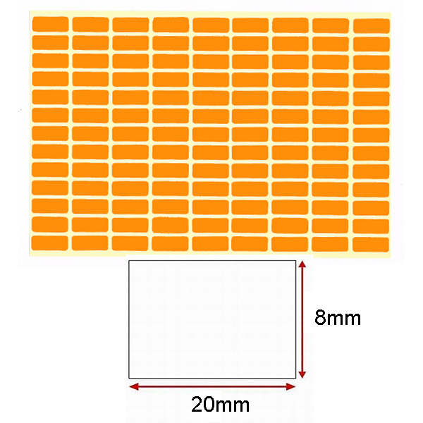 Orange Self-Adhesive Sticker Label (8mmx20mm)