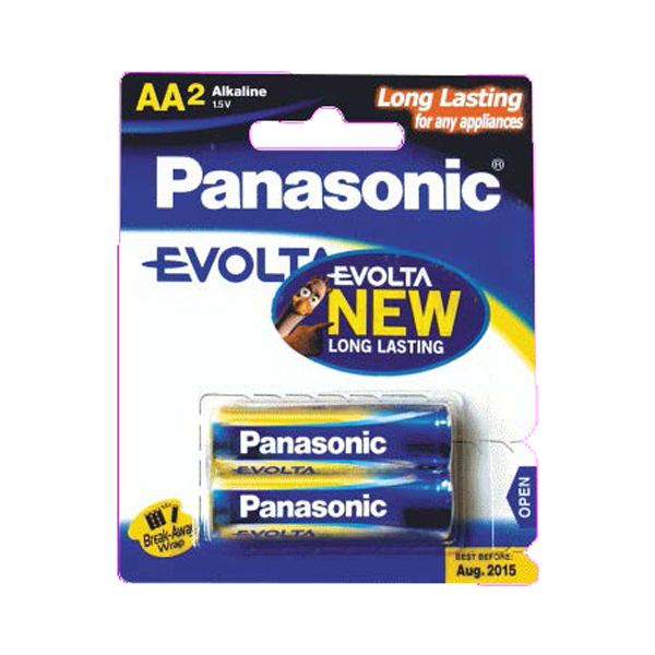 Panasonic Evolta 2xAA Alkaline Battery LR6EGM/2B