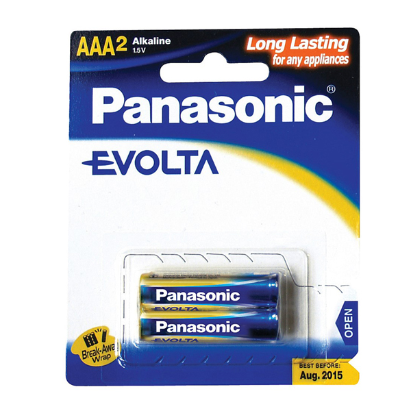 Panasonic Evolta 2xAAA Alkaline Battery LR03EGM/2B