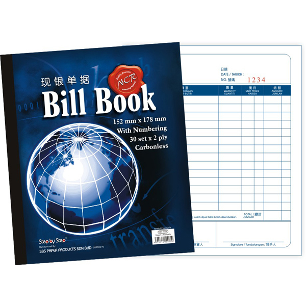 SBS 0005 6x7 Bill Book 30set x 2ply