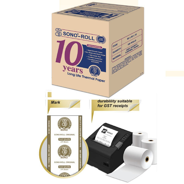 Sono Thermal Roll for 10 Years 80mm x 70mm x 12mm Long Life Receipt