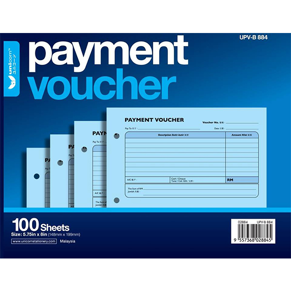 Unicorn B884 Payment Voucher 100 Sheets