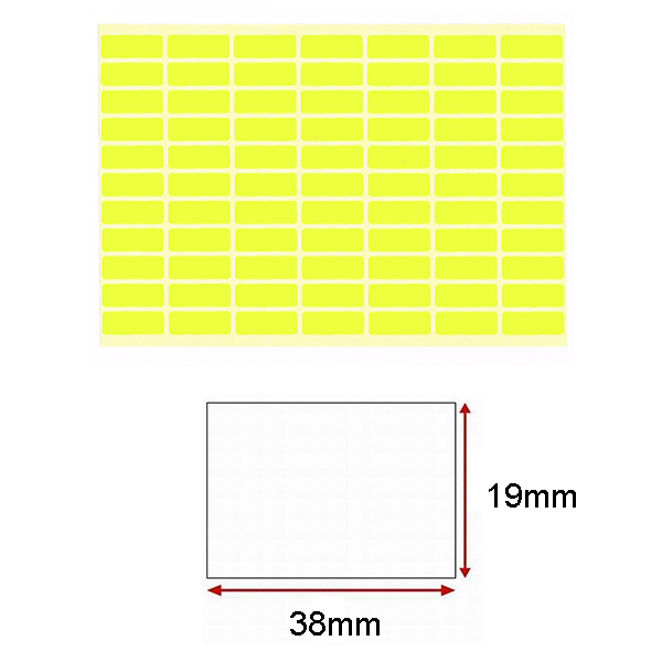 Yellow Self-Adhesive Sticker Label (19mmx38mm)